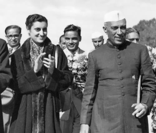 Indira and Jawaharlal Nehru