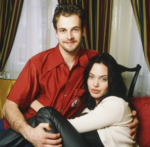 Jolie with her first husband Jonny Lee Miller