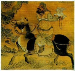 Genghis Khan with a falcon. Chinese image