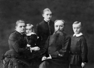 The family, from left to right - Maria Roerich, Vladimir Roerich, Lydia Roerich, Konstantin