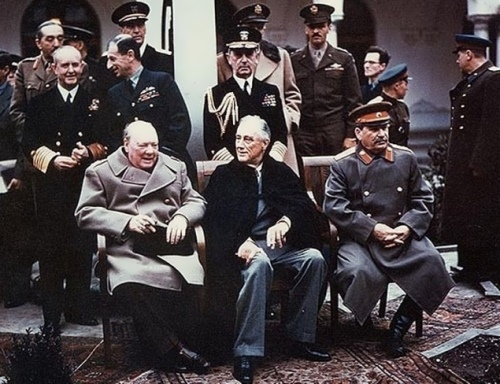 Churchill, Roosevelt and Stalin. Yalta Conference, 1945