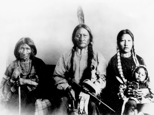 Portrait of Sitting Bull, his Mother, and his Daughter