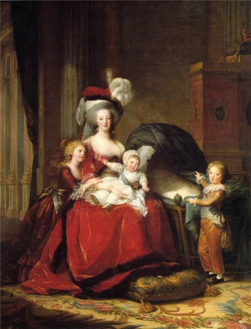 Vigee Le Brun. Portrait of Marie Antoinette with children, 1787