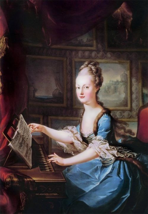 Marie Antoinette is playing the piano, 1769