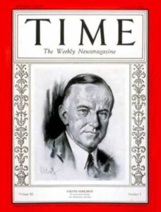 John Calvin Coolidge on the cover of time magazine
