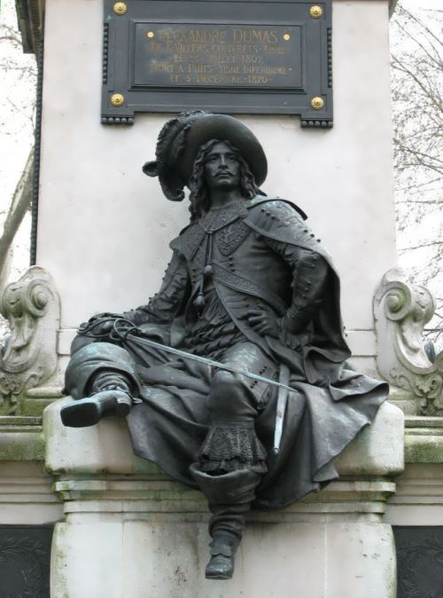 Detail of the Monument to Alexandre Dumas and D'Artagnan in Paris