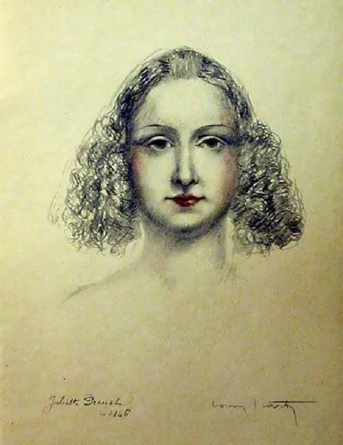 Juliette Drouet La Tourgue by Etienne Aubree with two Louis Icart