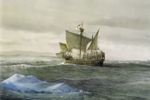 The Matthew near the shores of Newfoundland, 1497 by Gordon Miller
