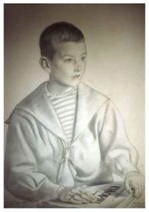 Portrait of Mitya Shostakovich by Boris Kustodiev, 1919