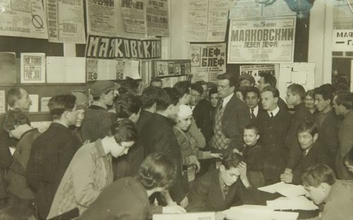 Mayakovsky is meeting with people