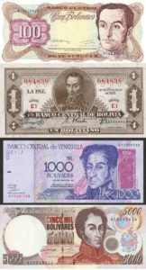 Simon Bolivar on bank notes