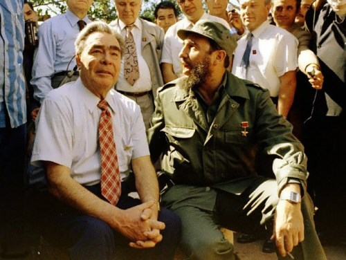 Castro and Leonid Brezhnev