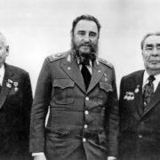 Chernenko, Castro and Brezhnev, 26 February 1981