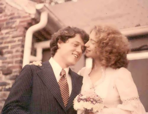 Hillary and Bill Clinton at their wedding