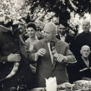 Nikita Khrushchev and Fidel Castro in the village Duripsh, Abkhaz ASSR, 1963