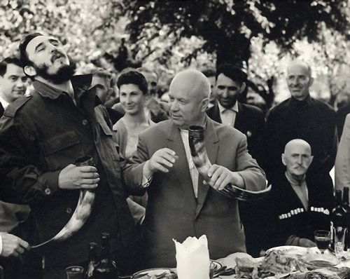 Nikita Khrushchev and Fidel Castro in the village Duripsh, Abkhaz ASSR, 1963