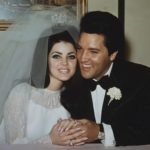 Priscilla and Elvis Presley at their wedding