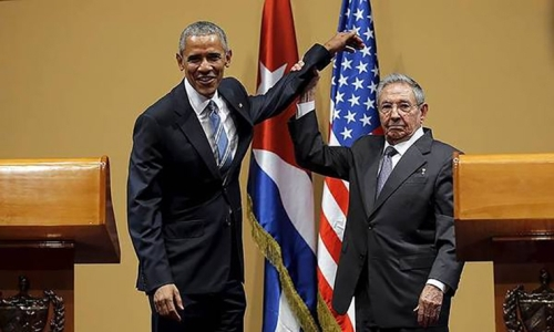 Raul Castro and Barak Obama