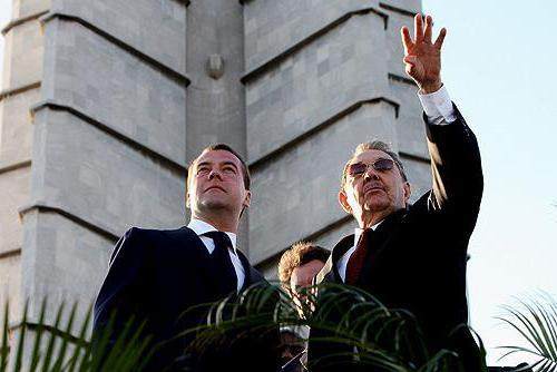 Castro and former Russian President Dmitry Medvedev