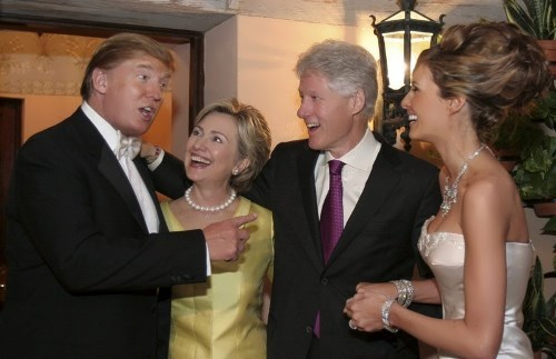 Donald and Melanie Trump and Hillary and Bill Clinton