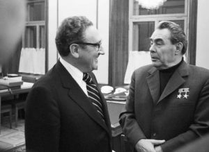 Kissinger and Leonid Brezhnev