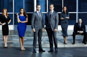 Meghan Markle in the series Suits (second from left)