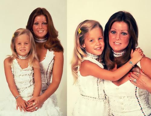 Lisa Marie and her mother Priscilla Beaulieu Presley