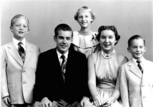 Donald (left) with his brothers and sisters