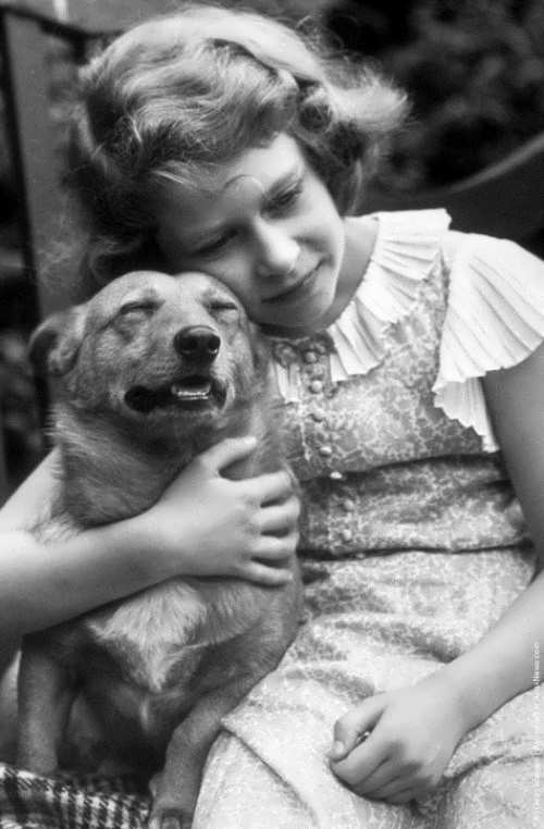 Princess Elizabeth with her pet, July 1936