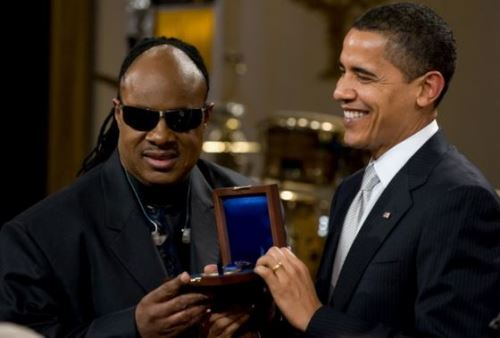 Barak Obama and Stevie Wonder