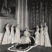 The queen with her six maids of honor