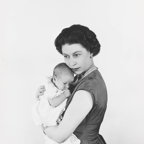 Queen with her newborn son Prince Andrew. Buckingham Palace, March 1960