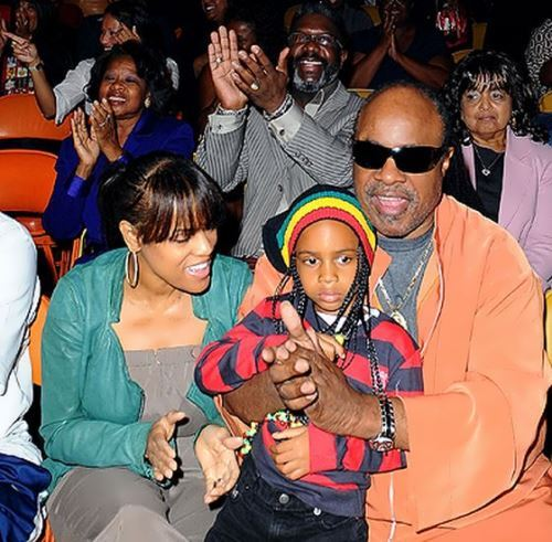 Stevie Wonder with his second wife and son