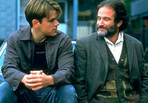 Matt Damon and Robin Williams in the film Good Will Hunting