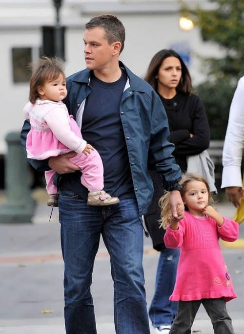 Matt Damon and his daughters