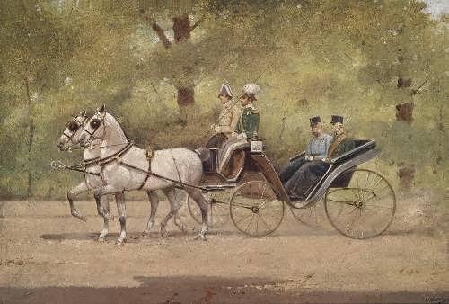 Kaiser Franz Joseph I mit Generaladjutant Graf Paar in Kutsche