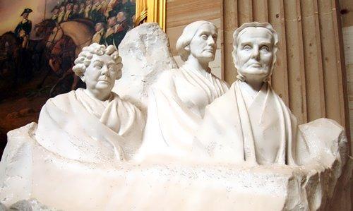 A portrait monument of Elizabeth Cady Stanton, Susan B. Anthony and Lucretia Mott