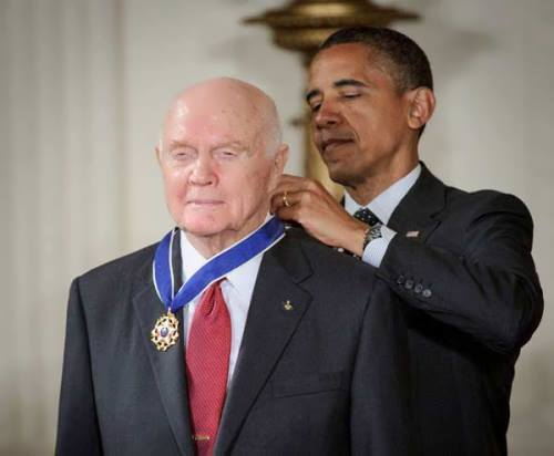 Barack Obama and John Glenn