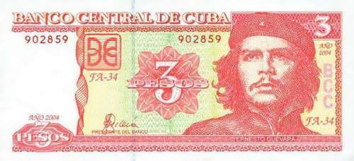 Portrait of Guevara on bank note