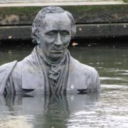 Sculpture of Hans Christian Andersen in Odense harbor