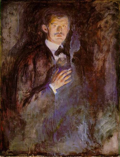 Self-portrait with a lighted cigarette