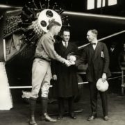 Lindberg accepts congratulations near his plane