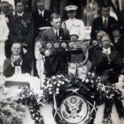 Lindbergh in Washington after the flight. Left President Calvin Coolidge