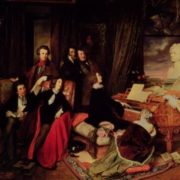 Liszt is playing, Marie d'Agoult is at his feet. J. Sand is sitting in the center next to Dumas. Rossini, Paganini and Hugo are behind them
