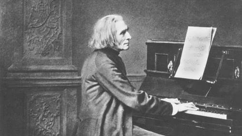 Liszt is playing the piano