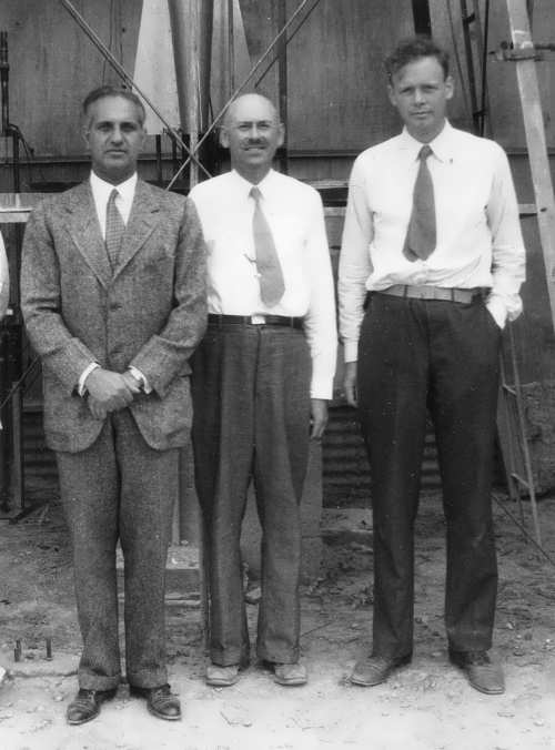Near the rocket September 23, 1935 from left to right F. Harry Guggenheim, Dr. Robert H. Goddard and Colonel Charles A. Lindberg