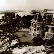 The castle on the island near the coast of Brittany was bought by Lindbergh after killing his son. France, 1938