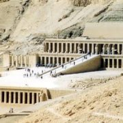 The funerary temple of Hatshepsut in Deir el-Bahri. The architect is Senmuth