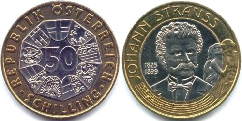 50 shillings 1999 - Austrian commemorative coin dedicated to Johann Strauss Jr
