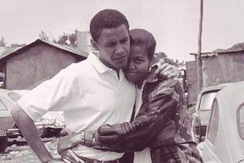 Barack and Michelle Obama in their youth